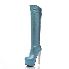 Naisten Keinonahasta Piikkikorko Platform Knee saappaat kengät (088056362)
