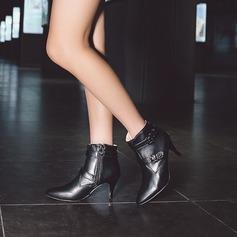 Kvinner PU Stiletto Hæl Pumps Støvler Mid Leggen Støvler med Spenne Glidelås sko (088130800)