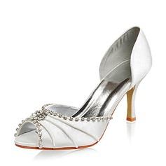 De mujer Satén Tacón Stilettos Encaje Sandalias con Diamantes de imitación (047005048)