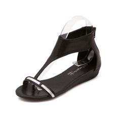 Konstläder Sandaler Platta Skor / Fritidsskor med Zipper skor (087050190)