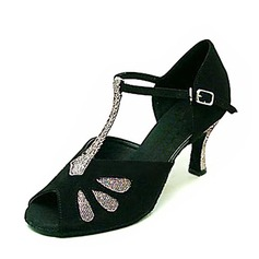 Women's Sparkling Glitter Nubuck Heels Sandals Latin With T-Strap Dance Shoes (053146265)