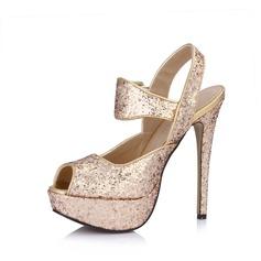 Kunstleer Sprankelende Glitter Stiletto Heel Sandalen Plateau Peep Toe Slingbacks met Gesp schoenen (085026443)