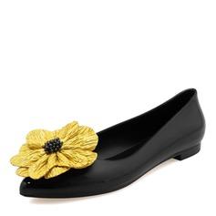 Kvinner PVC Flate sko Lukket Tå med Blomst sko (086165235)