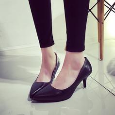 Женщины кожа Низкий каблук (рюмка) На каблуках Закрытый мыс обувь (085150510)