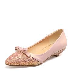 Женщины Мерцающая отделка PVC Плоский каблук На плокой подошве Закрытый мыс с бантом обувь (086153776)