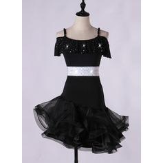 Женщины Одежда для танцев Спандекс Органза Латино Представления Платья (115166270)