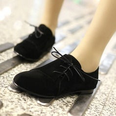 Женщины Замша Плоский каблук На плокой подошве Закрытый мыс с Шнуровка обувь (086145734)