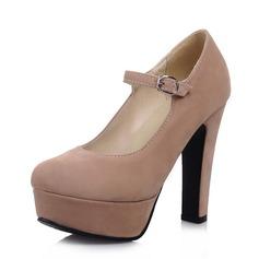 Замша Устойчивый каблук На каблуках Платформа Закрытый мыс с пряжка обувь (085061019)