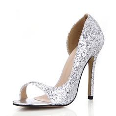 Женщины Мерцающая отделка Высокий тонкий каблук Сандалии Открытый мыс обувь (087072649)