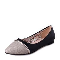 Женщины Мерцающая отделка PU Плоский каблук На плокой подошве Закрытый мыс с Соединение врасщеп обувь (086137069)