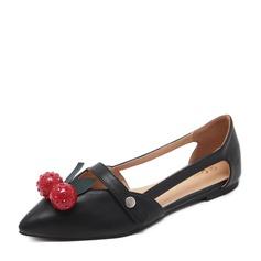 Женщины PU Плоский каблук На плокой подошве Закрытый мыс с развальцовка обувь (086141363)