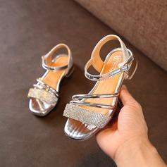 девичий Открытый мыс дерматин Плоский каблук Сандалии На плокой подошве Обувь для девочек с хрусталь (207167102)