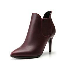 Женщины кожа Высокий тонкий каблук Платформа Полусапоги с Соединение врасщеп обувь (088098051)