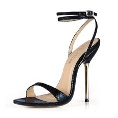 Женщины кожа Высокий тонкий каблук Сандалии Босоножки с пряжка обувь (087051970)
