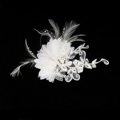Gorgeous Feather/Lace Fascinators/Combs & Barrettes With Venetian Pearl (042012232)