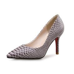 Женщины кожа Высокий тонкий каблук На каблуках с Животных печати обувь (085097937)
