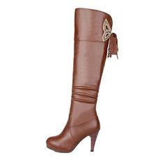 Женщины кожа Высокий тонкий каблук Платформа Сапоги выше колен с Застежка-молния обувь (088097133)