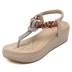 Женщины кожа Вид каблука Сандалии с горный хрусталь обувь (087093237)