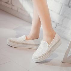 Женщины кожа Вид каблука На плокой подошве с Мерцающая отделка обувь (086123502)