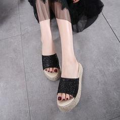 Женщины Мерцающая отделка Вид каблука На плокой подошве Тапочки с Мерцающая отделка обувь (087124961)