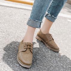 Женщины Замша Плоский каблук На плокой подошве Закрытый мыс с Шнуровка обувь (086141371)