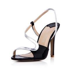 Leatherette Stiletto Heel Sandals Pumps Peep Toe Slingbacks shoes (087042774)