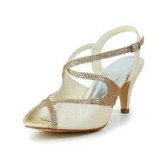 Women's Satin Cone Heel Peep Toe Sandals Slingbacks With Sparkling Glitter (047034351)
