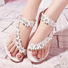Mulheres Couro Sem salto Sem salto Sandálias Beach Wedding Shoes com Strass Flor (047125409)
