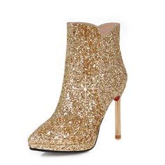 Женщины Мерцающая отделка Высокий тонкий каблук Полусапоги обувь (088092776)