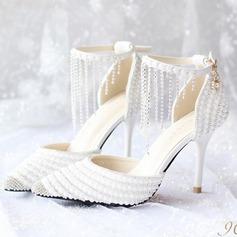 Женщины кожа Высокий тонкий каблук Закрытый мыс На каблуках с пряжка горный хрусталь кисточкой (047104106)