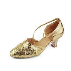 De mujer Cuero Brillo Chispeante Tacones Salón Sala de Baile con Tira de tobillo Zapatos de danza (053013200)