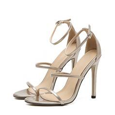 Mulheres Couro Salto agulha Peep toe Sandálias Beach Wedding Shoes (047123627)