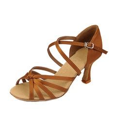 Femmes Satiné Talons Sandales Latin avec Lanière de cheville Chaussures de danse (053058449)