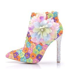 Женщины Кружева кожа Высокий тонкий каблук Ботинки На каблуках с Атласный бант Каблуки с кристаллами Аппликация (047149242)