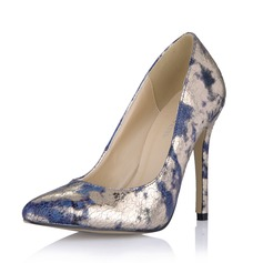 Женщины кожа Высокий тонкий каблук На каблуках Закрытый мыс обувь (085053026)