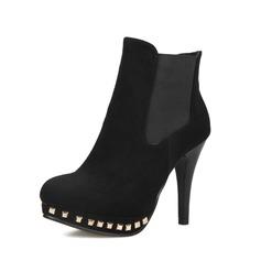 Женщины Замша Высокий тонкий каблук Полусапоги обувь (088074038)