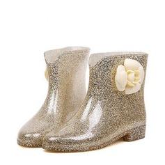 Женщины PVC Низкий каблук Ботинки Сапоги до середины голени Резиновые сапоги с Цветок обувь (088127046)