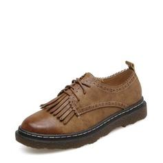 Женщины PU Плоский каблук На плокой подошве Закрытый мыс с Шнуровка кисточкой обувь (086141369)