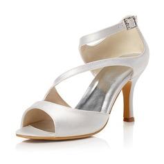 Vrouwen Satijn Stiletto Heel Peep Toe Sandalen met Gesp (047048019)