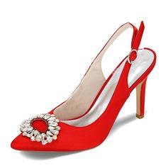 Женщины Атлас Высокий тонкий каблук Закрытый мыс На каблуках Босоножки с пряжка хрусталь (047095122)
