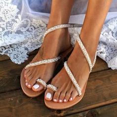 Femmes Similicuir Talon plat Chaussures plates À bout ouvert Sandales avec Cristal (047208107)