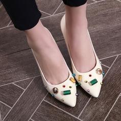 Женщины кожа Высокий тонкий каблук На каблуках с развальцовка Баттон обувь (085115138)