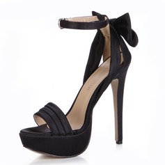 Silk Like Satin Stiletto Heel Sandals Platform Peep Toe With Bowknot Buckle shoes (087025072)