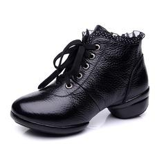 Femmes Vrai cuir Bottes Pratique avec Dentelle Chaussures de danse (053065358)