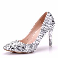 Женщины кожа Высокий тонкий каблук Закрытый мыс На каблуках с Каблуки с кристаллами хрусталь (047151529)