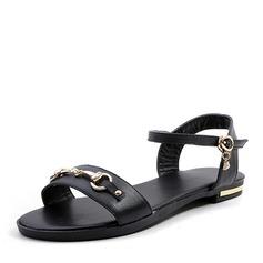 Женщины кожа Плоский каблук Сандалии На плокой подошве с пряжка обувь (087157109)