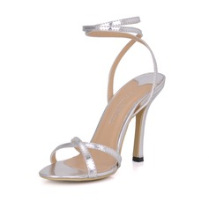 Patent Leather Stiletto Heel Sandals Slingbacks With Buckle shoes (087026358)
