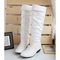 Women's Leatherette Low Heel Closed Toe Boots Knee High Boots Over The Knee Boots With Ruffles shoes (088170955)