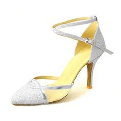 De mujer Brillo Chispeante Tacones Salón Sala de Baile con Tira de tobillo Zapatos de danza (053013207)