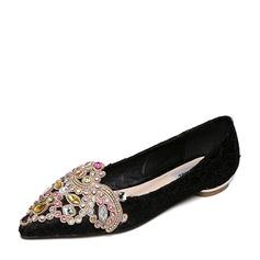 Женщины Кружева Плоский каблук На плокой подошве Закрытый мыс с горный хрусталь обувь (086141364)